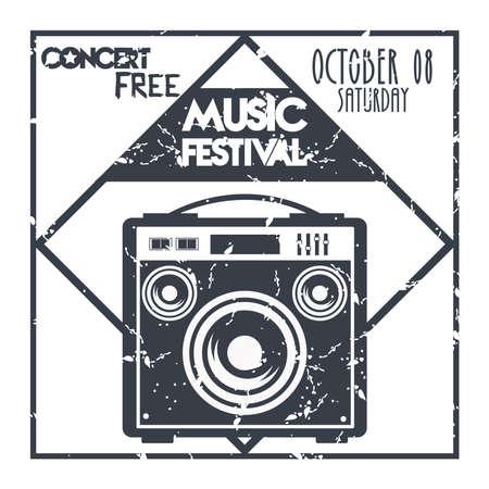 music festival poster with speaker monochrome label vector illustration design