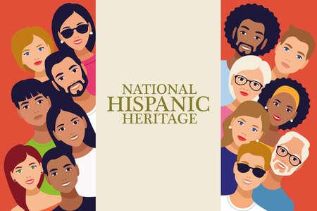 national hispanic heritage celebration lettering with people vector illustration design