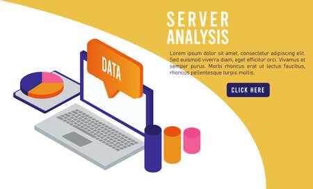 data analysis technology with laptop vector illustration design