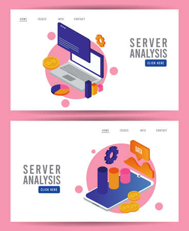 data analysis technology with laptop computer and tablet devices vector illustration design