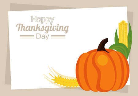happy thanksgiving day lettering with pumpkin and corn cob vector illustration design