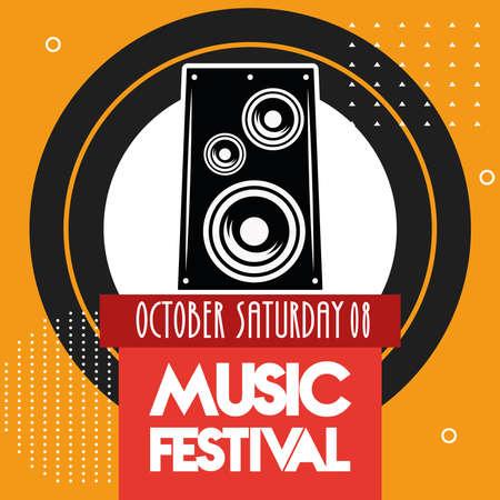 music festival poster with speaker lettering date vector illustration design