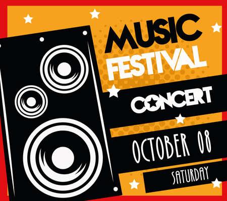 music festival poster with speaker lettering date in black ribbon vector illustration design