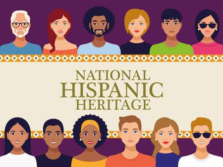 national hispanic heritage celebration lettering with team people in square frame vector illustration design Vecteurs