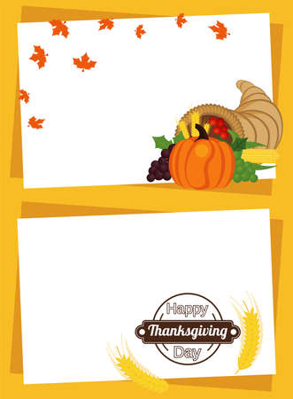 happy thanksgiving day poster with fruits in horn and spikes frames vector illustration design