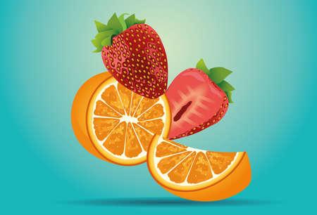 oranges citrus and sweet strawberries fruits decorative poster vector illustration design