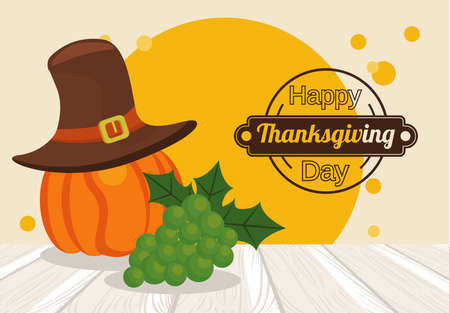 happy thanksgiving day poster with pumpkin using pilgrim hat and grapes vector illustration design Иллюстрация