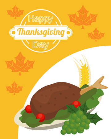happy thanksgiving day poster with turkey food and grapes vector illustration design Иллюстрация