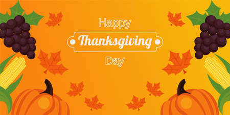 happy thanksgiving day poster with fresh fruits and lettering vector illustration design