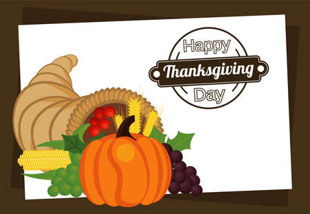happy thanksgiving day poster with pumpkin in horn and fresh fruits vector illustration design