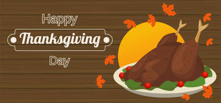 happy thanksgiving day poster with turkey food in wooden background vector illustration design