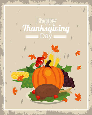 happy thanksgiving day poster with pumpkin and turkey in dish vector illustration design Иллюстрация