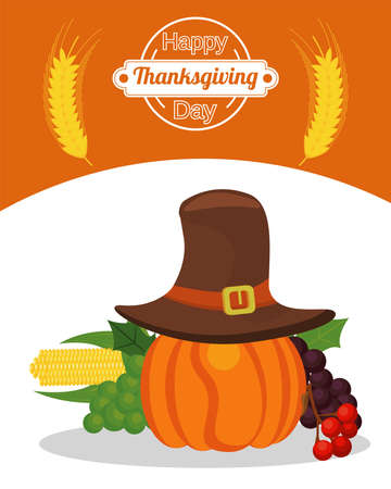 happy thanksgiving day poster with pumpkin wearing pilgrim hat and fruits vector illustration design Иллюстрация