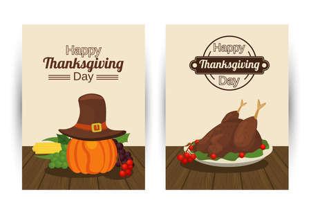 happy thanksgiving day poster with turkey food and pumpkin using pilgrim hat vector illustration design Иллюстрация