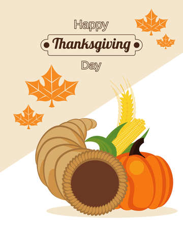 happy thanksgiving day poster with pumpkin in horn and corn cobs vector illustration design Иллюстрация