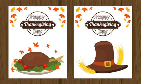 happy thanksgiving day poster with turkey food and pilgrim hat vector illustration design