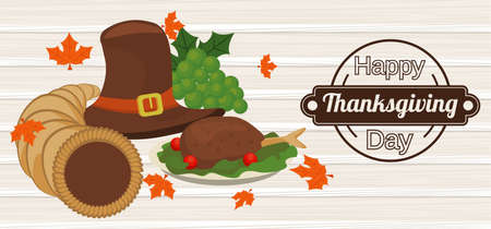 happy thanksgiving day poster with pilgrim hat and turkey in wooden background vector illustration design
