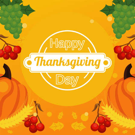 happy thanksgiving day poster with fresh fruits and lettering circular frame vector illustration design