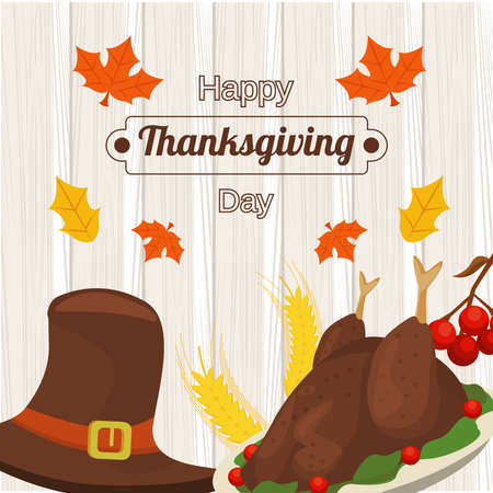 happy thanksgiving day poster with turkey and pilgrim hat in wooden background vector illustration design