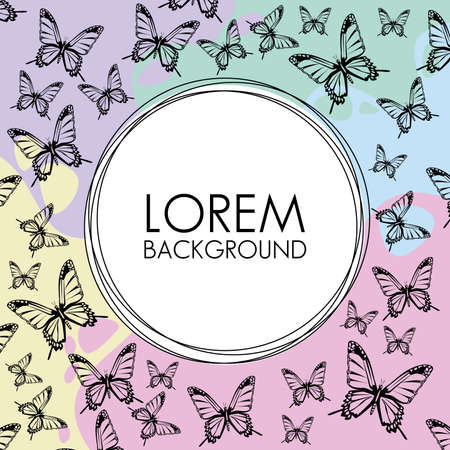 beautiful butterflies decorative pattern background with circular frame vector illustration design Illusztráció