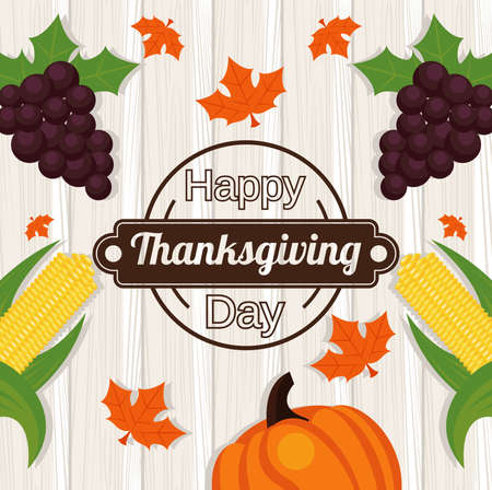 happy thanksgiving day poster with grapes and vegetables in wooden background vector illustration design Иллюстрация