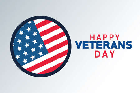 happy veterans day lettering with usa flag in circular frame vector illustration design