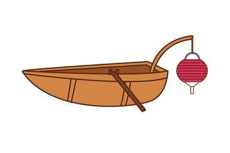 chinese boat with lamp icon vector illustration design
