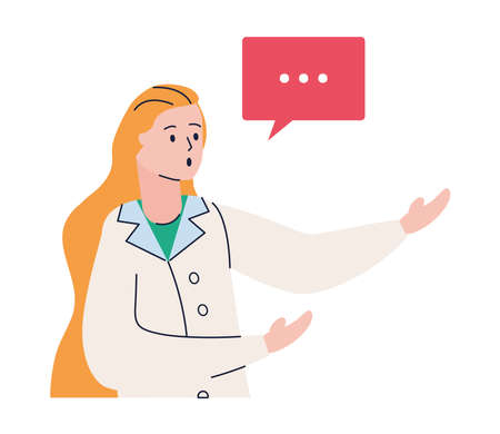 young female doctor with speech bubble avatar character vector illustration design