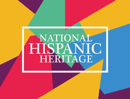national hispanic heritage label in multicolor background vector illustration design