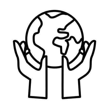 hands human lifting earth planet line style icon vector illustration design