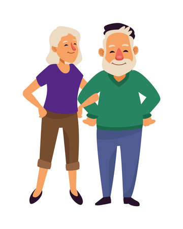 old couple persons avatars characters vector illustration design
