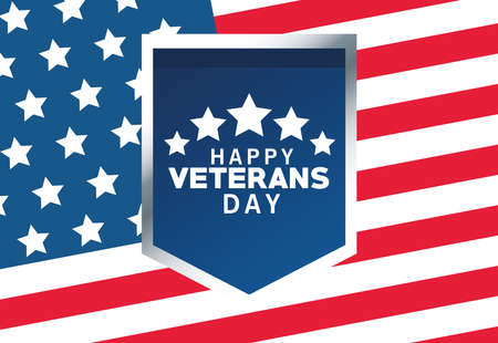 happy veterans day lettering with usa flag in shield and background vector illustration design