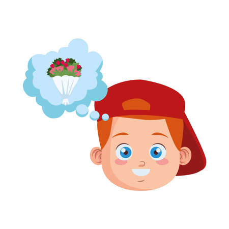 cute little boy student with sport cap thinking in flowers bouquet vector illustration design 일러스트