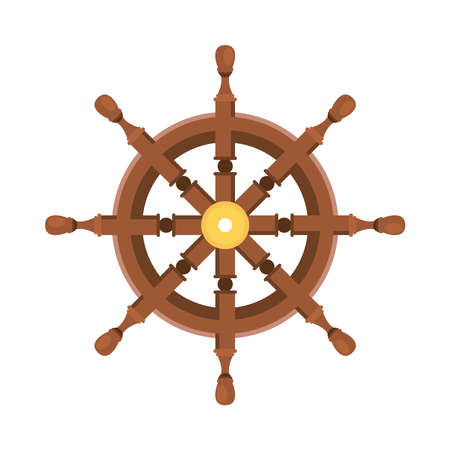 wooden wheel ship isolated icon vector illustration design