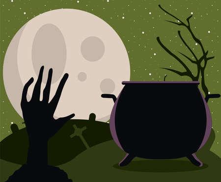 death zombie hand and cauldron scene vector illustration design