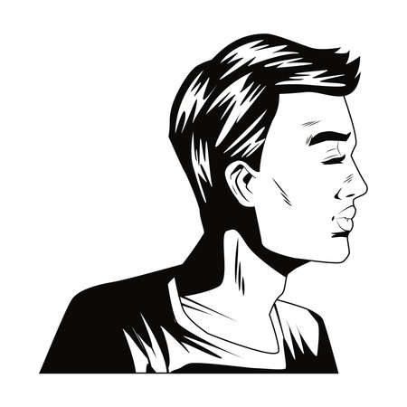 angry man profile pop art style character vector illustration design Vecteurs