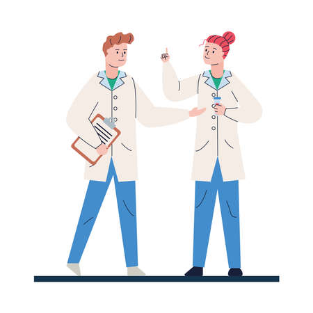 young doctors couple with checklist avatars characters vector illustration design