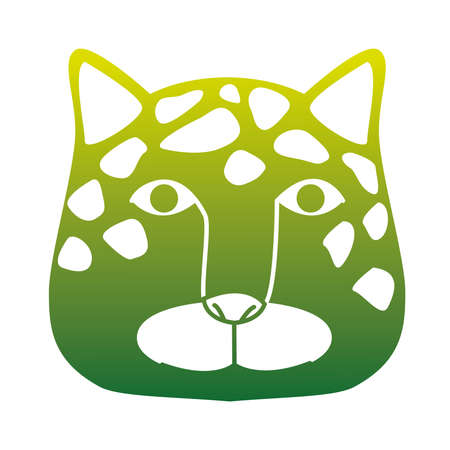 wild leopard feline head green silhouette animal icon vector illustration design