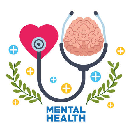 mental health day human brain with heart and stethoscope vector illustration design