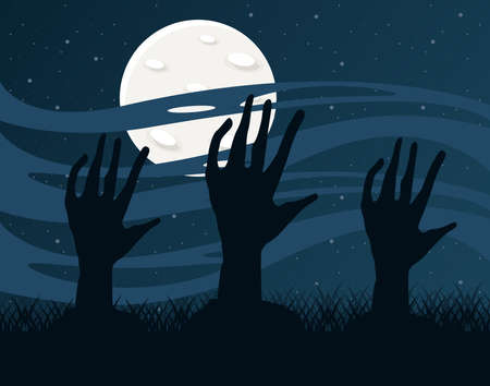 death zombie hands and fullmoon at night scene vector illustration design