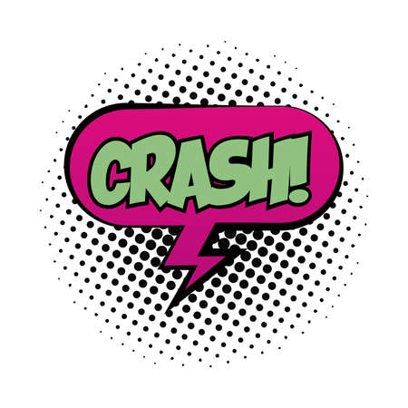 speech bubble with crash word pop art fill style vector illustration design