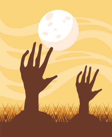 death zombie hands and fullmoon at night vector illustration design Ilustrace