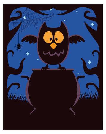 halloween witch cauldron pot with owl scene vector illustration design