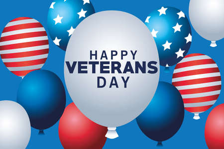 happy veterans day lettering with balloons helium floating vector illustration design