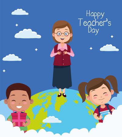 teacher with kids couple in world planet vector illustration design Vecteurs