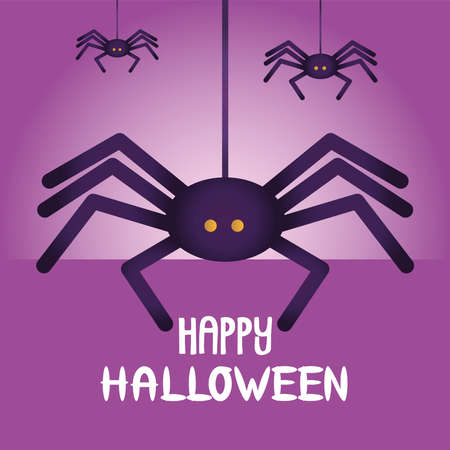 halloween spiders hanging isolated icon vector illustration design
