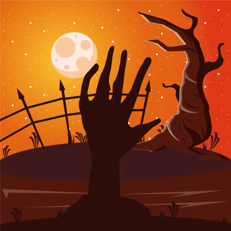 death zombie hand and moon with tree scene vector illustration design