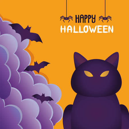halloween cat black and bats flying scene vector illustration design  イラスト・ベクター素材