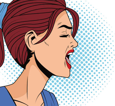 angry woman profile pop art style character vector illustration design