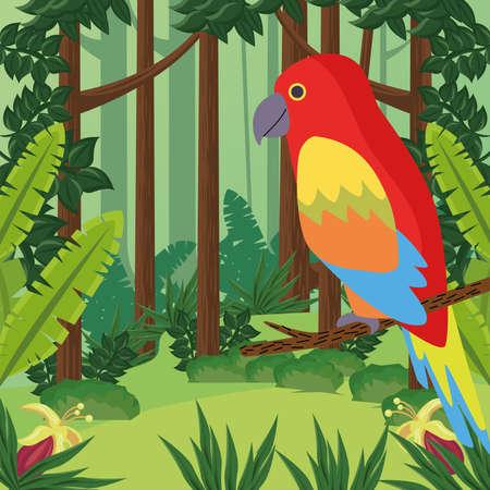 wild tropical parrot bird in the jungle vector illustration design